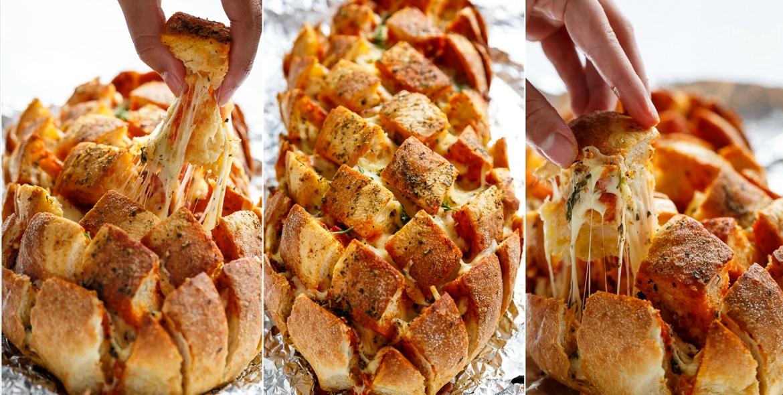 Garlic butter pizza pull apart bread